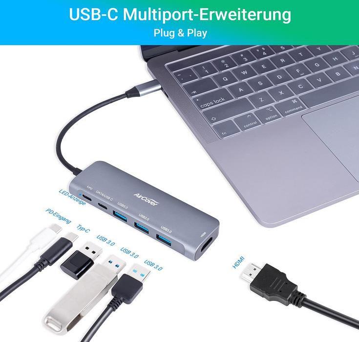 AirCover   USB C Hub   6 in 1 USB C Adapter mit 4K HDMI für 22,74€ (statt 35€)
