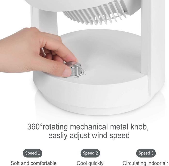Mycarbon 360° Tischventilator mit 3 Geschwindigkeiten für 19,99€ (statt 40€)