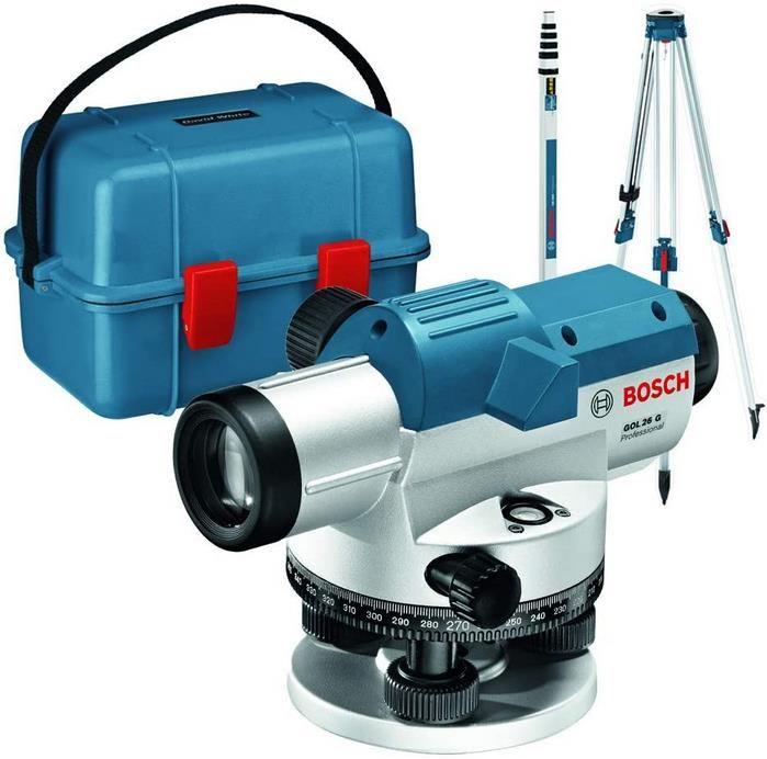 Bosch Professional Optisches Nivelliergerät GOL 26 G + Messlatte und Stativ für 198,59€ (statt 270€)