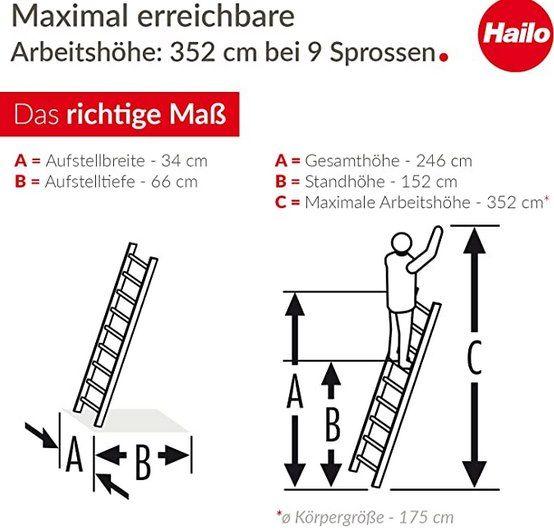 Hailo S60 Profistep uno Anlegeleiter mit 9 Sprossen für 76,79€ (statt 100€)   B Ware