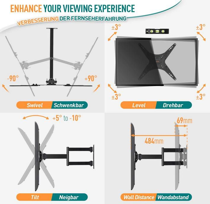 Elived Schwenk  und Neigbare TV Wandhalterung für 26 55 Zoll für 16,65€ (statt 24€)