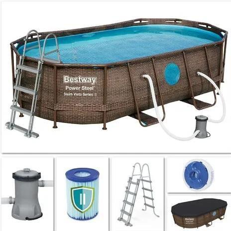 Bestway 56714   Power Steel Pool Oval Set in Rattanoptik für 341,90€ (statt 400€)