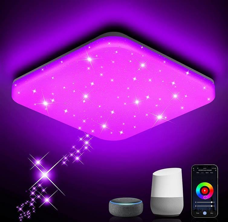 NIXIUKOL LED Deckenleuchte   Dimmbar 24W RGB per App steuerbar für 24,99€ (statt 50€)