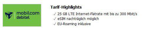 Telekom Datentarif mit 25GB LTE ohne Anschlussgebühr für 14,99€ mtl.   E Sim mgl.