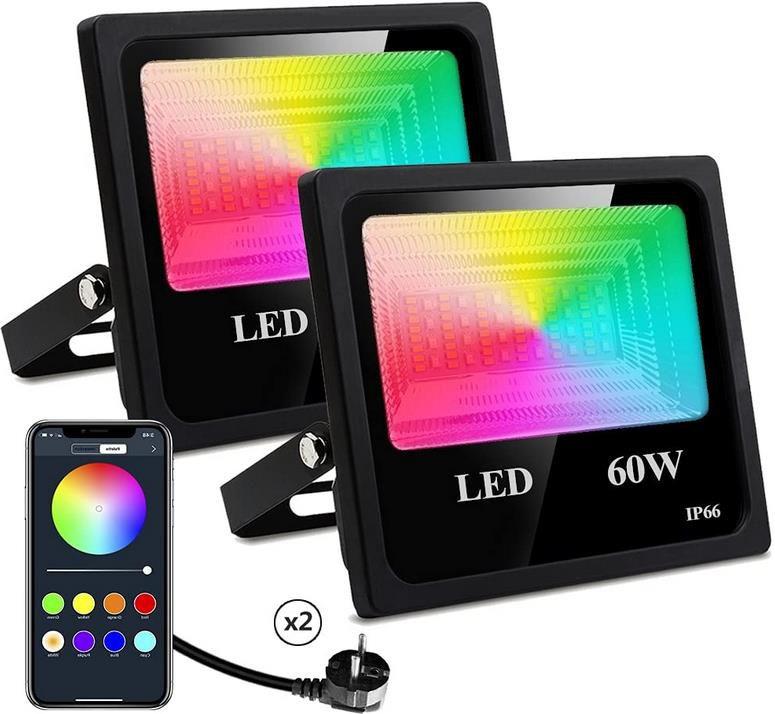 2er Pack Nicetai 60W LED Strahler mit App Steuerung, Wasserdicht und RGB Beleuchtung für 44,50€ (statt 89€)