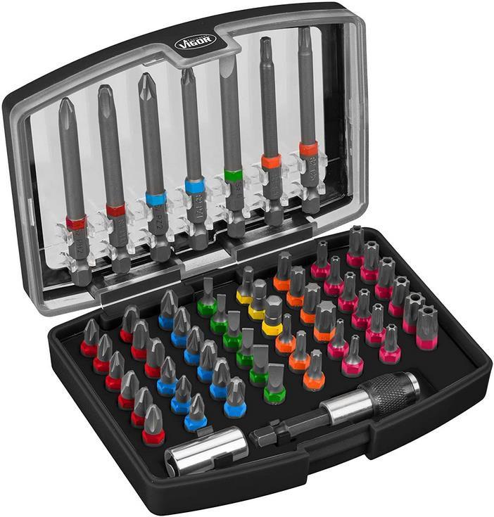 Vigor Bit Box V5020 57 Teilig farblich markiert nach Profilen inkl. extra langen Bits für 27,96€ (statt 35€)
