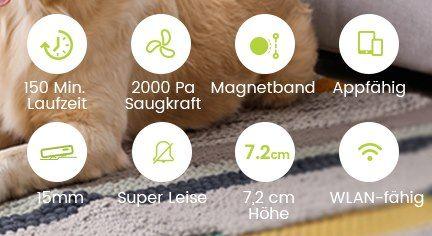 Kyvol E20 Saugroboter mit 2.000Pa & 150 Min Betriebszeit für 89,98€ (statt 136€)