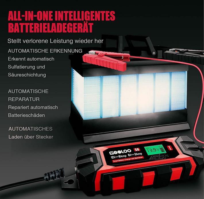 GOOLOO S6   6A Autobatterieladegerät 6V/12V für 39,19€ (statt 60€)