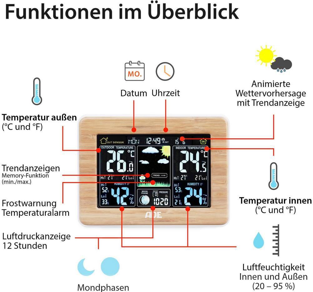 ADE WS 1703 Funk Wetterstation für 35,94€ (statt 44€)