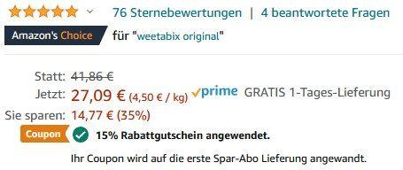 14x Weetabix Original Vollkorn Frühstückscerealien (430g) ab 17,62€ (statt 40€)   Prime
