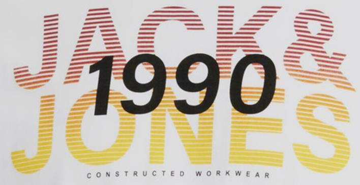 Jack & Jones   T Shirt in Weiß mit farbigem Brustprint für 8,90€ (statt 13€)