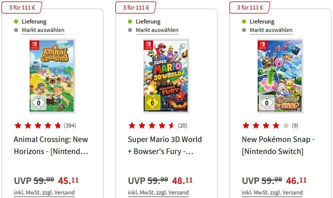 MediaMarkt   Nintendo Switch Spiele Aktion 3 für 101€   54 Games zur Auswahl