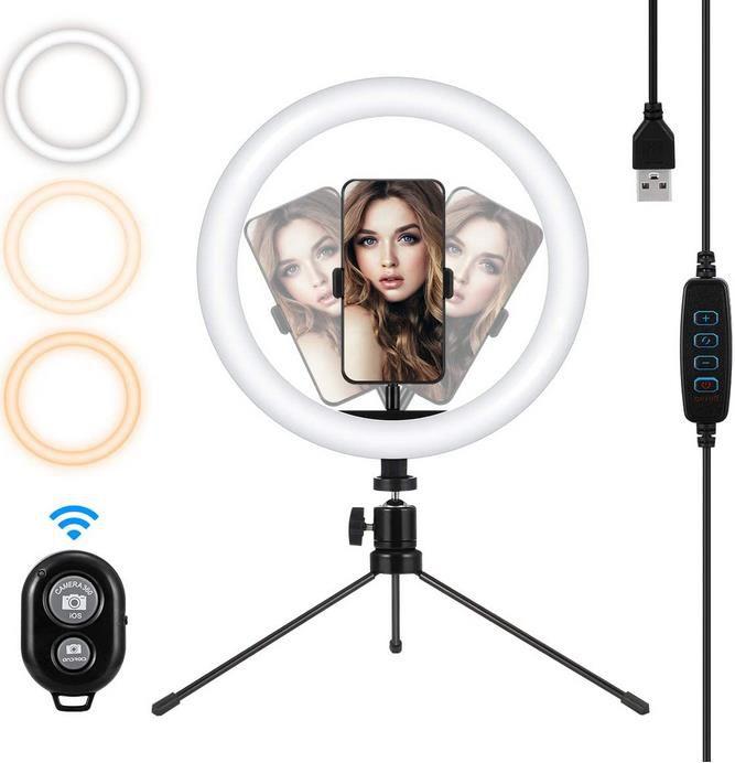 MOHOO Ringlicht mit Stativ für Handys bis 10 Zoll für 5,99€ (statt 19€)