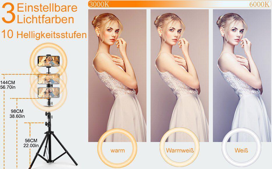 Ansody LED Ringlicht (Ø 26cm) mit 3 Farben & 10 Stufen für 14,99€ (statt 30€)