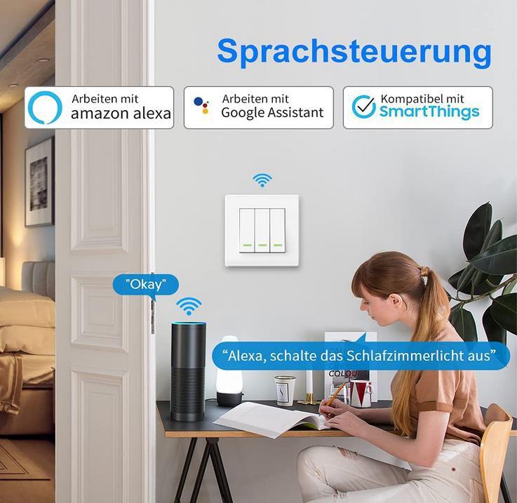 Lesim Smart Lichtschalter   Alexa, Google Assistant & SmartThings kompatibel ab 11,99€ (statt 20€)   Prime
