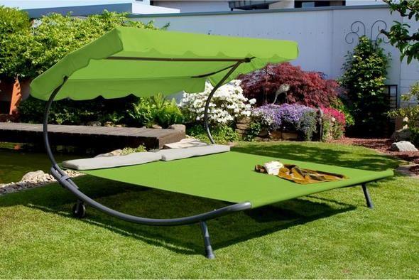 Leco Gartendoppelliege mit Dach in grün (200 x 200 x 110 cm) für 99,99€ (statt 119€)