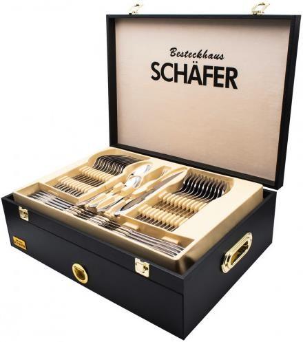 Schäfer Besteckset Mirror+Gold   72 teilig mit Holzkoffer für 79,99€ (statt 115€)