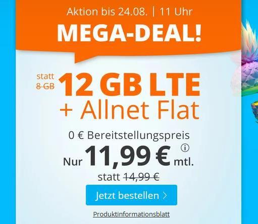 Sim.de: o2 Tarif mit Allnet Flat + 12GB LTE für 11,99€ mtl. – nur 3 Monate Laufzeit