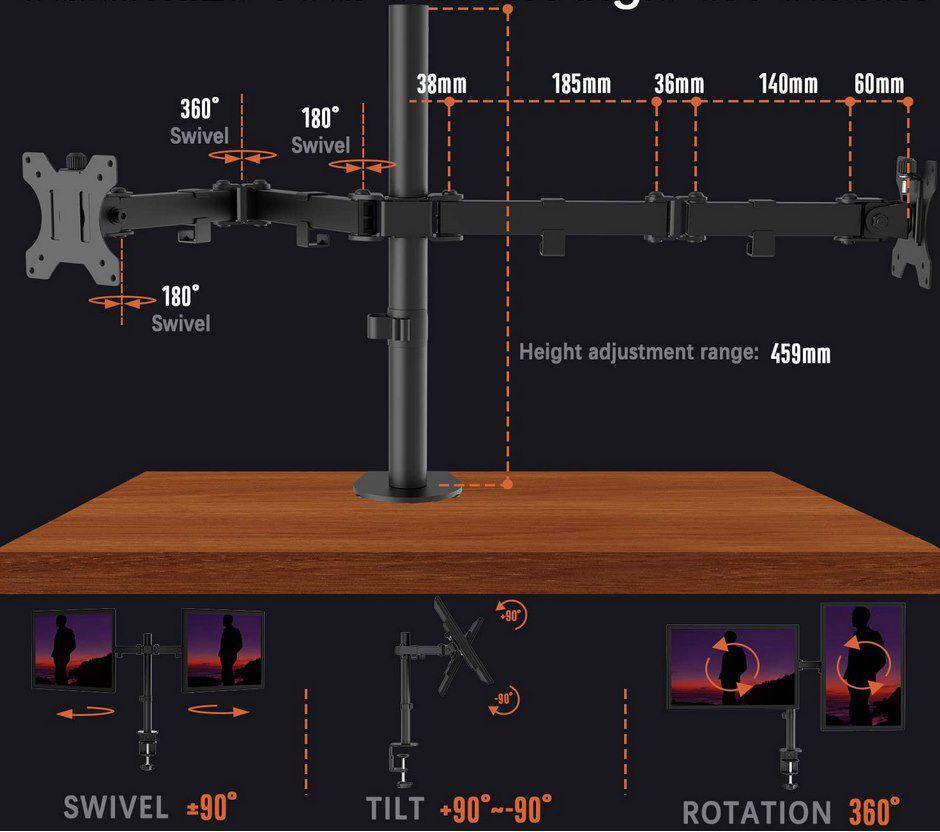 PUTORSEN Halterung für 2 Monitore mit je max. 8kg & bis 32 Zoll für 16,43€ (statt 33€)