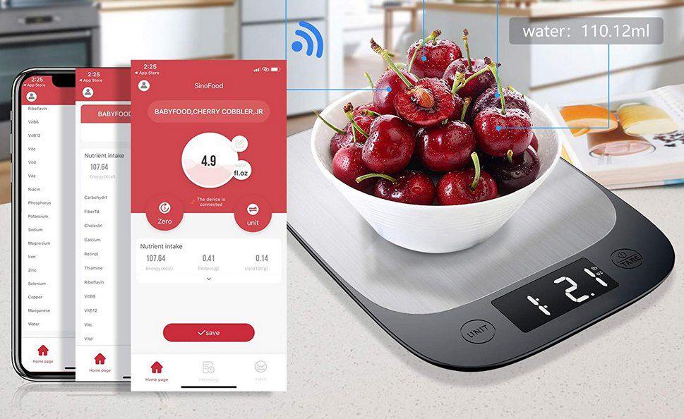 Sinocare digitale Küchenwaage mit App Anbindung für 9,99€   Prime