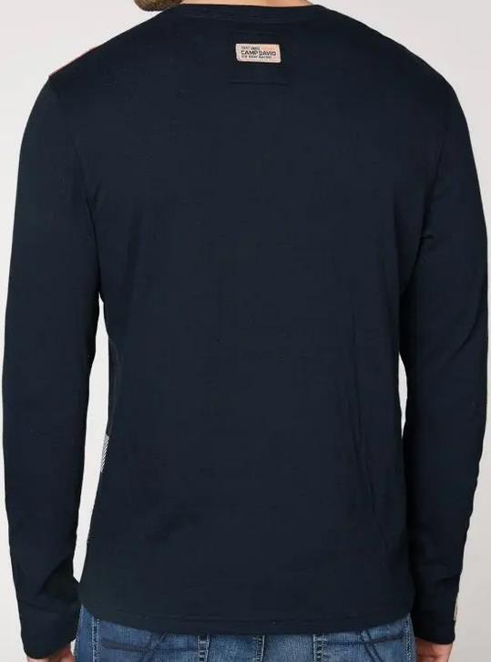 Camp David Sweatshirt mit V Ausschnitt und Print in Navy für 37,93€ (statt 50€)