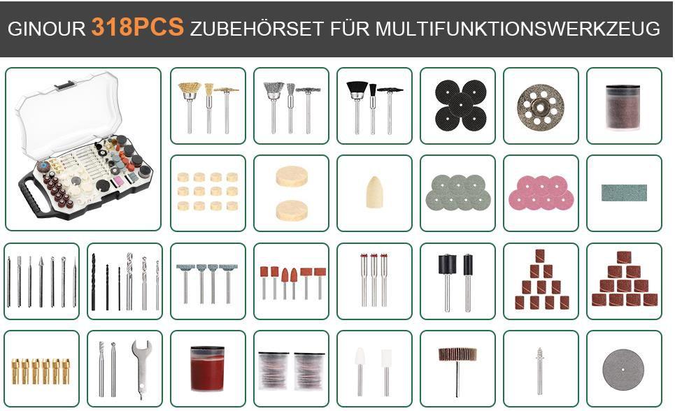 Multifunktionswerkzeug/Zubehörset 318 tlg. mit 6 Universalfuttern für 17,99€ (statt 30€)