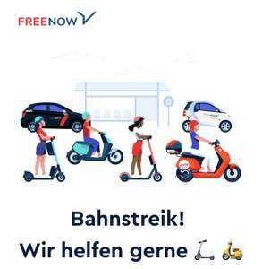 Wegen Bahnstreik bei Free Now 5 x 10€ Gutscheine abholen