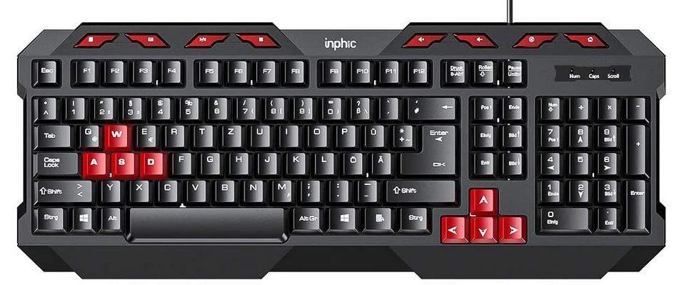 Inphic V610 USB Tastatur 112 Tasten DE Layout für 7,99€ (statt 16€)  prime