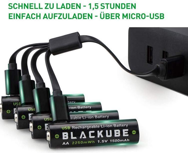 Blackube AA 4 wiederaufladbare Akku 1.5V/2250mWh für 16,49€ (statt 33€)