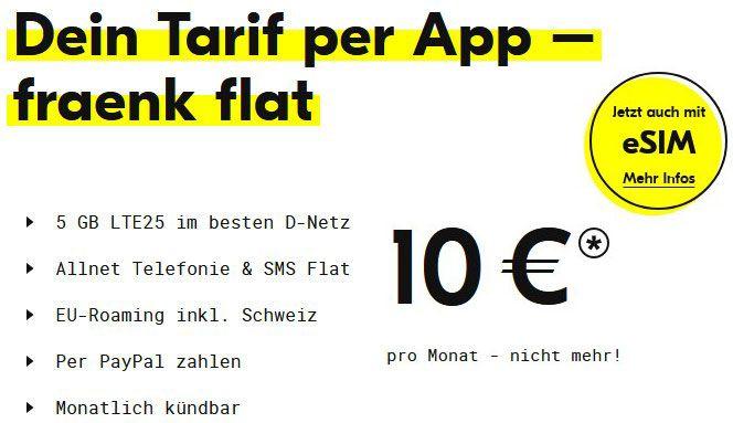 🔥 fraenk: Monatlich kündbare Telekom Allnet Flat mit 6GB LTE nur 10€ mtl. + jetzt auch mit eSIM!