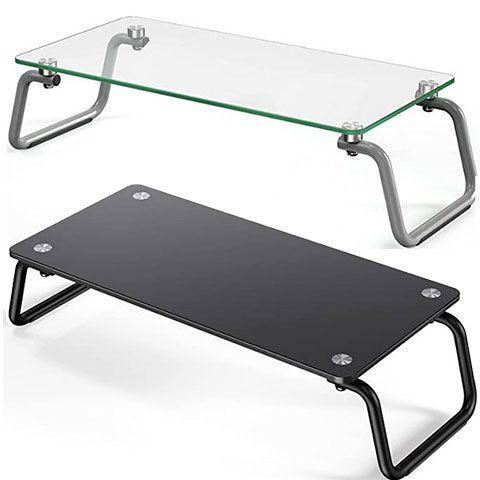 LORYERGO Monitorständer aus gehärtetem Glas in Schwarz oder Transparent für ab 6,39€   Prime