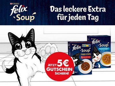 5€ Gutschein mit Kauf von FELIX Soup von Purina sichern