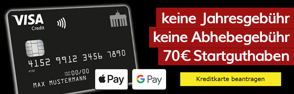 Visa Kreditkarte komplett beitragsfrei (ein Leben lang) + 70€ Startguthaben