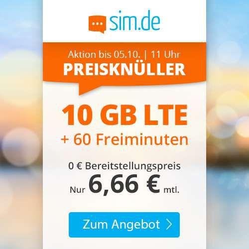 o2 Tarif mit 60 Freiminuten + 10GB LTE für nur 6,66€mtl. + keine Laufzeit