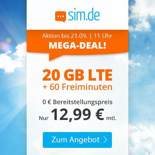 Sim.de: o2 Tarif mit 20GB LTE (!) + 60 Freiminuten für 12,99€ mtl.