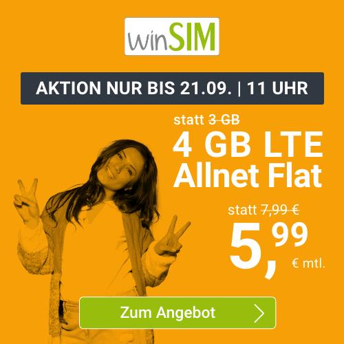 winSIM: o2 Allnet Flat mit 4GB für 5,99€ oder 11GB LTE für 11,11€mtl.   nur 3 Monate Laufzeit