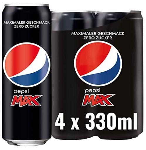 4x Pepsi Max (ohne Kalorien) je 330ml für 1,30€ + 1€ Pfand   Prime Sparabo