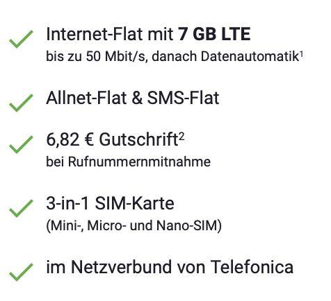 o2 Allnet Flat mit 7GB LTE für 7,77€mtl.