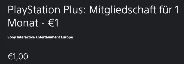1 Monat PlayStation Plus für 1€   für Kunden ohne laufendes Abo