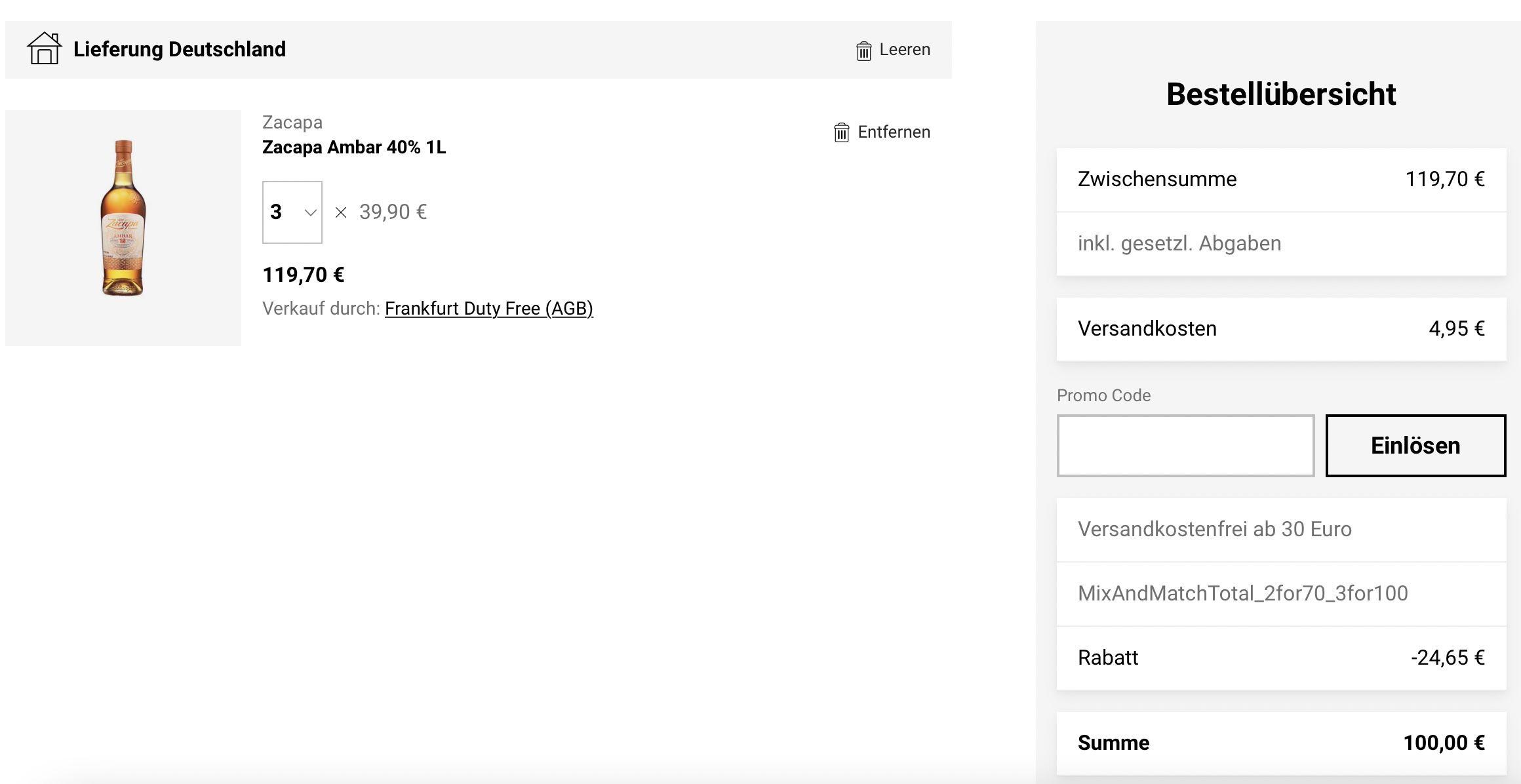3 x 1L Zacapa Ambar 40% für 100€ (statt 109€)