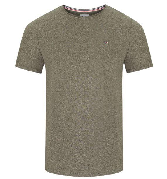 Tommy Jeans Herren T Shirt Slim Jaspe C Neck für je 15€ (statt 23€)   nur in Olive & Hellblau