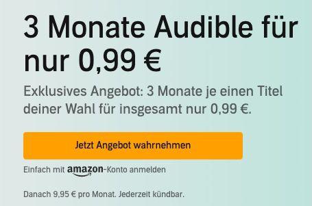 Letzte Chance! 🔥 3 Monate audible für einmalig (!) 0,99€   3 Hörbücher gratis