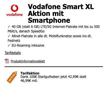 Sony Xperia 5 III + WH H910N Noise Cancelling Kopfhörer für 99€ + Vodafone Allnet Flat mit 40GB LTE/5G für eff. 42,99€ mtl.