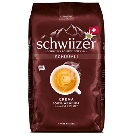 1kg Schwiizer Schüümli Crema Ganze Kaffeebohnen (Stärkegrad 3/5, Premium Arabica) ab 7,60€ (statt 11€)   Prime Sparabo