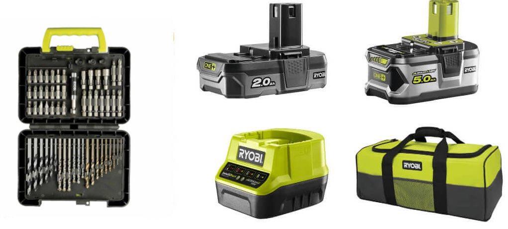 Ryobi Vorteilspaket: Bohrschrauber, Winkelschleifer, Stichsäge, 2x 18V Akku (2Ah & 5Ah), Ladegerät, Bitbox & Tasche für nur 259€