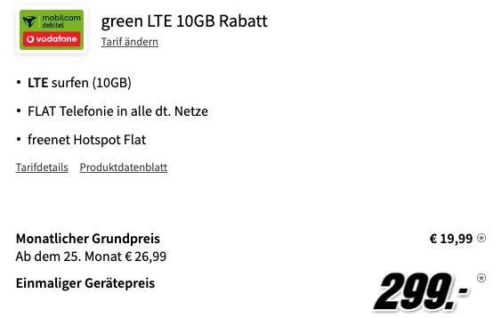 Samsung Galaxy Z Flip3 mit 128GB für 299€ + Vodafone Allnet Flat inkl. 10GB LTE für 19,99€ mtl.
