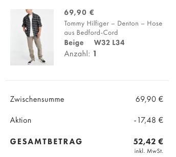 25% Rabatt auf Hosen & Oberteile   z.B. Tommy Hilfiger Denton Hose aus Bedford Cord für 52,42€ (statt 75€)