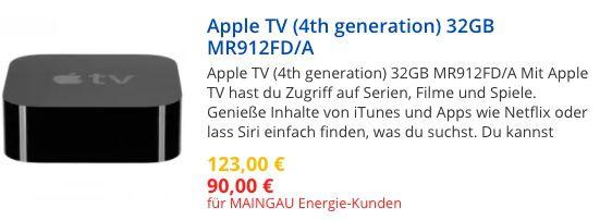 Maingau Energie Kunden: stark reduzierte Apple Hardware   z.B. Apple TV 4 für 85€ oder 4K für 103€