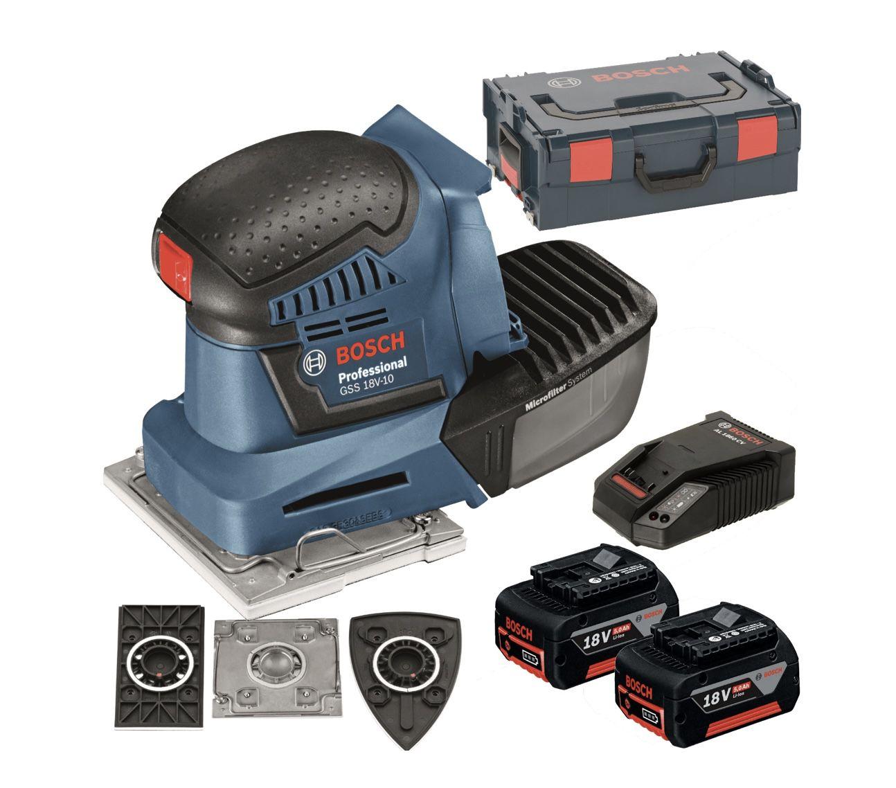 Bosch Akku-Schwingschleifer GSS 18V-10 Professional inkl. L-BOXX & 2x Li-Ionen Akku (5,0Ah) für 239€ (statt 265€)