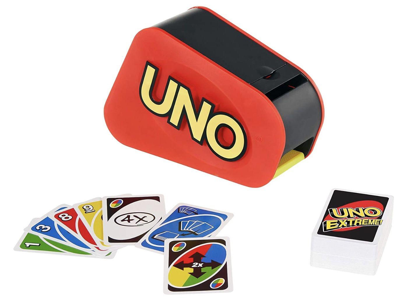 Mattel Games GXY75   UNO Extreme Kartenspiel mit Zufallsschleuder für 2 bis 10 Spieler für 24€ (statt 37€)   Prime